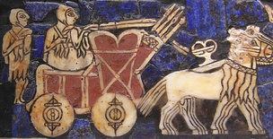 "The wheel, invented sometime before the 4th millennium BC, is one of the most ubiquitous and important technologies. This detail of the ""Standard of Ur"", c. 2500 BC., displays a Sumerian chariot"