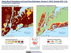 Population density and elevation above sea level in Greater NYC, U.S. (2010). Newark is especially vulnerable to sea level rise.