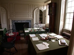 Aides-de-camp's office inside Washington's Headquarters at Valley Forge. General Washington's staff officers worked in this room writing and copying the letters and orders of the Continental Army.