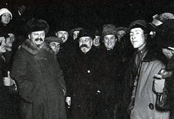 Bolshevik revolutionaries Leon Trotsky, Lev Kamenev and Grigory Zinoviev, later executed or assassinated on Stalin's orders
