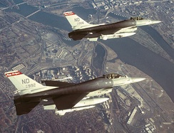 F-16s of the 119th Fighter Wing, North Dakota Air National Guard, fly a combat air patrol over Washington, DC, and the Pentagon in Operation Noble Eagle. November 2001.