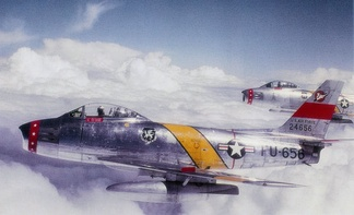 North American F-86F-30-NA Sabres of the 50th FBW flying over West Germany. AF Ser. No. 52-4656 is in front. The 50th was formed at Cannon Air Force Base, New Mexico in 1953, then transferred to Hahn Air Base, West Germany. The 50 FW was assigned to USAFE for nearly 40 years throughout the Cold War.