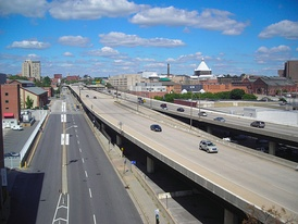 I-83 seen from the Orleans Street bridge