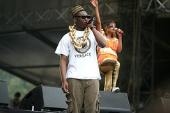 Afrikan Boy, an Afrobeat/grime London MC with Nigerian roots supporting M.I.A. at the Rock en Seine Festival, 2007