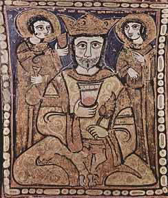 A 12th-century Arab-Norman painting depicting Roger II