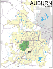 City map of Auburn, Alabama, showing I-85 passing south of it