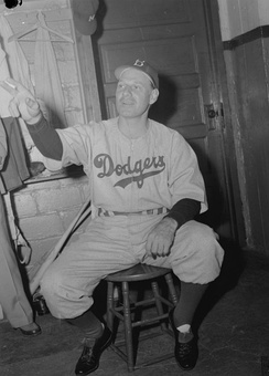 Durocher in the dressing room of Delorimier Stadium in Montreal in July 1946.
