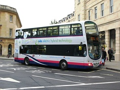 A diesel/electric hybrid bus in Southgate on a Park and Ride service