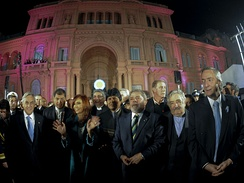 South American presidents in front of the Casa Rosada, Buenos Aires, during the bicentenary of the May Revolution.