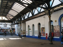The station forecourt showing Mocatta's original building which is now largely obscured