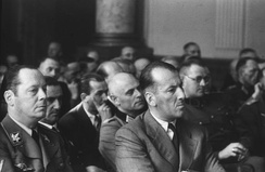 Kaltenbrunner (front row, second from left) as spectator at a People's Court show trial following the failed 20 July plot.