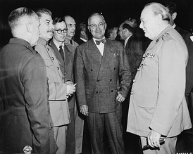 Potsdam Conference: Joseph Stalin (left), Harry Truman (center), Winston Churchill (right)