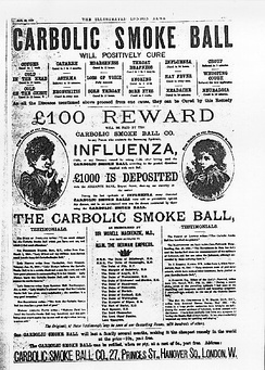 The famous Carbolic Smoke Ball advertisement to cure influenza was held to be a unilateral contract