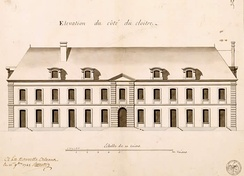 A 1745 elevation by Broutin of the Ursuline Convent in New Orleans.