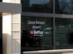 Window ad announcing the name change of Dexia Bank Belgium
