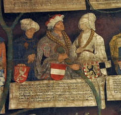 Albert and his wives Elisabeth (left) and Beatrix (right), Habsburg pedigree, 1497
