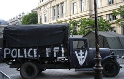 A truck of the FFI bearing the Free French Republic of Vercors emblem.