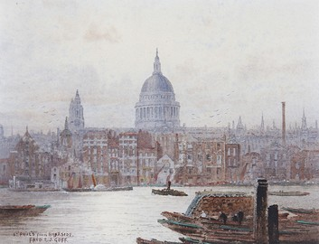 St Paul's from Bankside, a watercolour by Frederick E. J. Goff (before 1931)