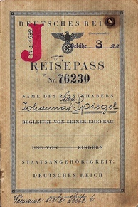 "German passport stamped with a ""J""; this passport was used to escape Europe in 1940"