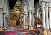 The large Hypostyle prayer hall in the Great Mosque of Kairouan, dating in its present form from the ninth century, in Kairouan, Tunisia