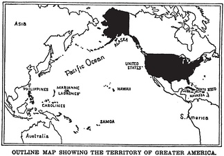 "Post-Spanish–American War map of ""Greater America,"" including Cuba and the Philippines."
