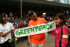 Protester at a Greenpeace march in 2009.
