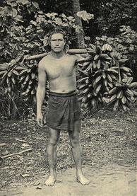 "Pre-1906 photograph titled ""Hillsman carrying feis to Papeete"" (Tahiti)"