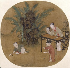 Two children playing with paddle balls in Hitting the Ball in the Shadow of the Banana, a painting by the Chinese artist Su Hanchen (苏汉臣, active 1130s–1160s AD), Song Dynasty