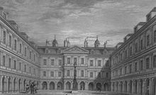 The quadrangle designed by Sir William Bruce, drawn in the 1850s[2] and as it appears today.