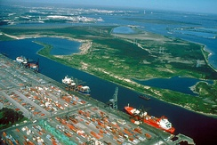 The Barbours Cut Terminal of the Port of Houston, USA. This cargo shipping terminal has a single large wharf with multiple berths.