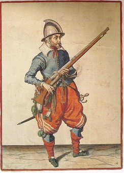 Depiction of a musketeer (1608)