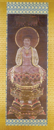 Manichaean Painting of the Buddha Jesus depicts Jesus Christ as a Manichaean prophet, the figure can be identified as a representation of Jesus Christ by the small gold cross that sits on the red lotus pedestal in His left hand.