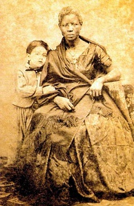 Boy with an enslaved woman, Brazil, 1860.