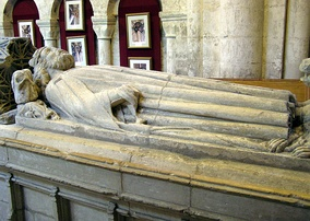 Empty fifteenth-century tomb of King Æthelstan at Malmesbury Abbey