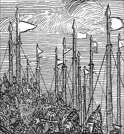 19th-century depiction of Magnus Barelegs's forces in Ireland, before his death in 1103.