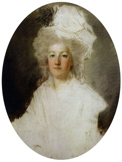 Marie-Antoinette, c. 1792. A blow from a pike struck by a revolutionary is visible on the lower part of the work (unfinished pastel portrait by Alexandre Kucharski).