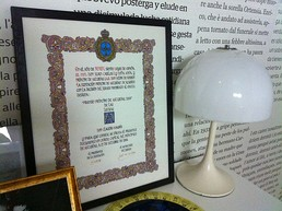 The Award given to Claudio Magris in 2004, shown at the exhibition La Trieste di Magris at CCCB in Barcelona during 2011.
