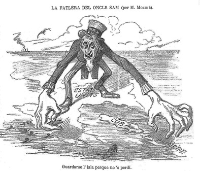 "A Spanish satirical drawing published in La Campana de Gràcia (1896) criticizing U.S. behavior regarding Cuba by Manuel Moliné. Upper text reads (in old Catalan): ""Uncle Sam's craving"", and below: ""To keep the island so it won't get lost""."