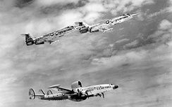 The USAF RC-121D 53-0128 with two F-104 Starfighters.