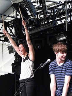 Matt and Kim performing at Coachella in 2010.