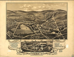 Panoramic map of Maynard with sights listed (1879)