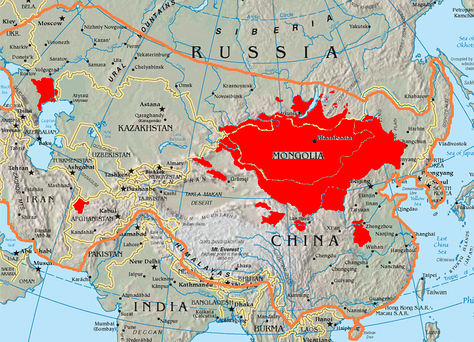 This map shows the boundary of 13th century Mongol Empire and location of today's Mongols in modern Mongolia, Russia and China.