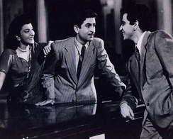 Nargis, Raj Kapoor and Dilip Kumar in Andaz (1949). Kapoor and Kumar are among the greatest and most influential movie stars in the history of Indian cinema,[45][46] while Nargis is one of its greatest actresses.[47]
