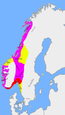 Division of Norway after the Battle of Svolder according to Heimskringla: The red area was under direct Danish control, with Sweyn's ruling it as a Danish extension. Eiríkr Hákonarson ruled the purple area as a fiefdom from Sweyn Forkbeard. The yellow area was under Sveinn Hákonarson, his half-brother, held as a fief of Olof Skötkonung, the Swedish king.