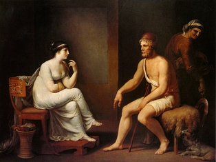Penelope questions Odysseus to prove his identity.