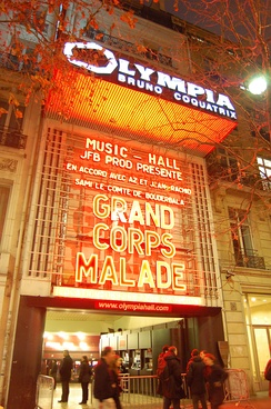 Famous facade of Olympia in 2016 used for Dalida film projection, first time in the history of Olympia