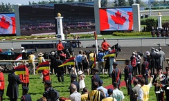 Queen Elizabeth II attending the 2010 Queen's Plate at Woodbine Racetrack in Toronto.