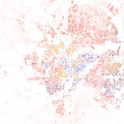 Map of racial distribution in Fort Worth, 2010 U.S. Census. Each dot is 25 people: White, Black, Asian Hispanic, or Other (yellow)