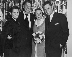 Wedding of Ronald and Nancy Reagan, 1952. Matron of honor Brenda Marshall and best man William Holden were the sole guests