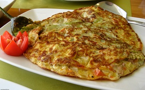 Philippine rellenong talong, a variant of tortang talong stuffed with ground meat and various vegetables